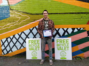 Bicycle Valet Photo - STEVE with award